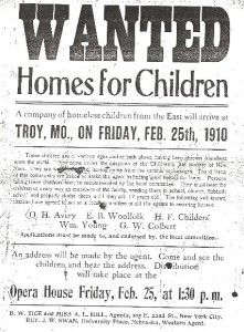 Handbill advertising orphan train.